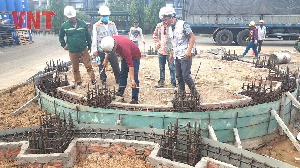 Nghiệm thu cốt thép, ván khuôn móng bồn silo chứa nguyên liệu 200T