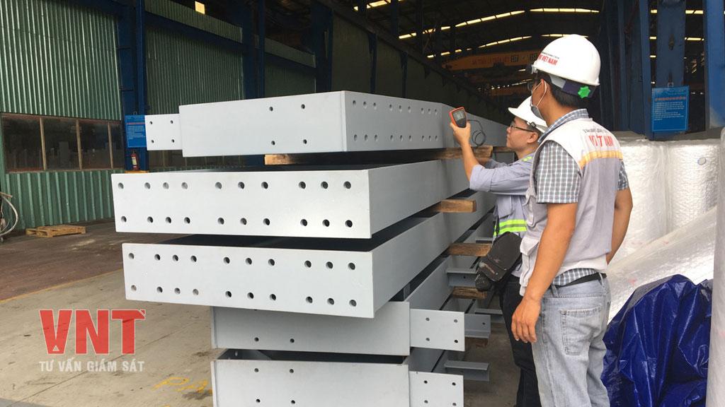 Nghiệm thu công tác gia công kết cấu thép tiền chế tại xưởng