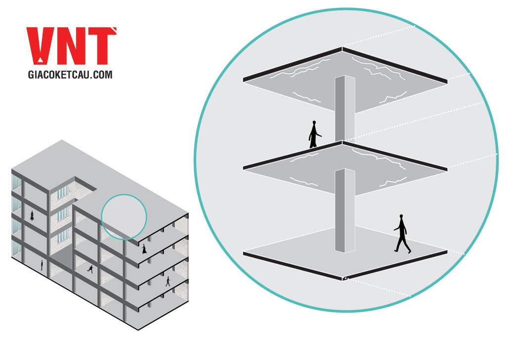 Vết nứt xuất hiện giữa ô trần, sàn theo 2 phương vuông góc