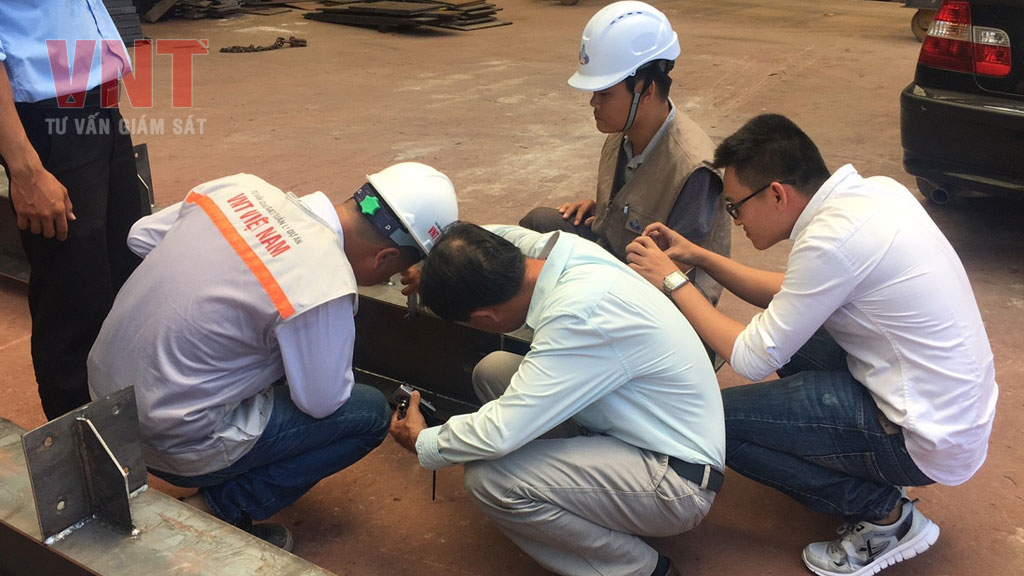 Giám sát quá trình gia công kết cấu thép, siêu âm mối hàn, đo chiều dày từng lớp sơn