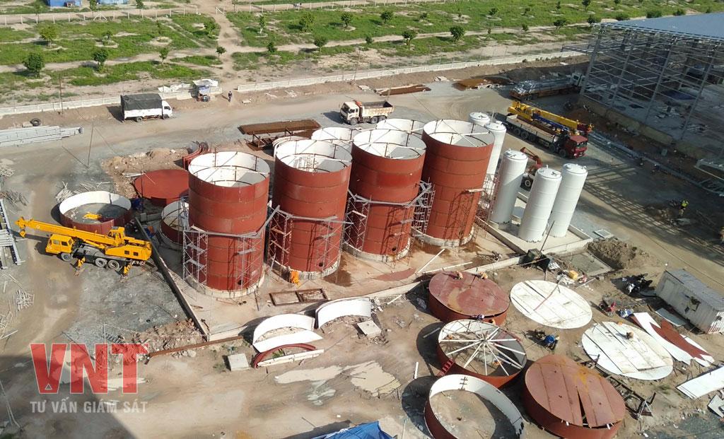 Giám sát thi công lắp dựng bồn chứa nguyên liệu bằng thép