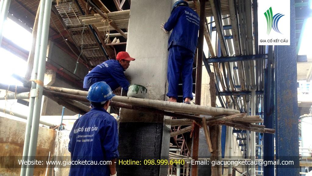 Sửa chữa cột kho muối nhà máy hóa chất